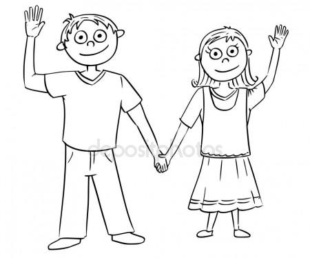 450x374 Cartoon Illustration Of Boy And Girl Holding Each Other's Hands