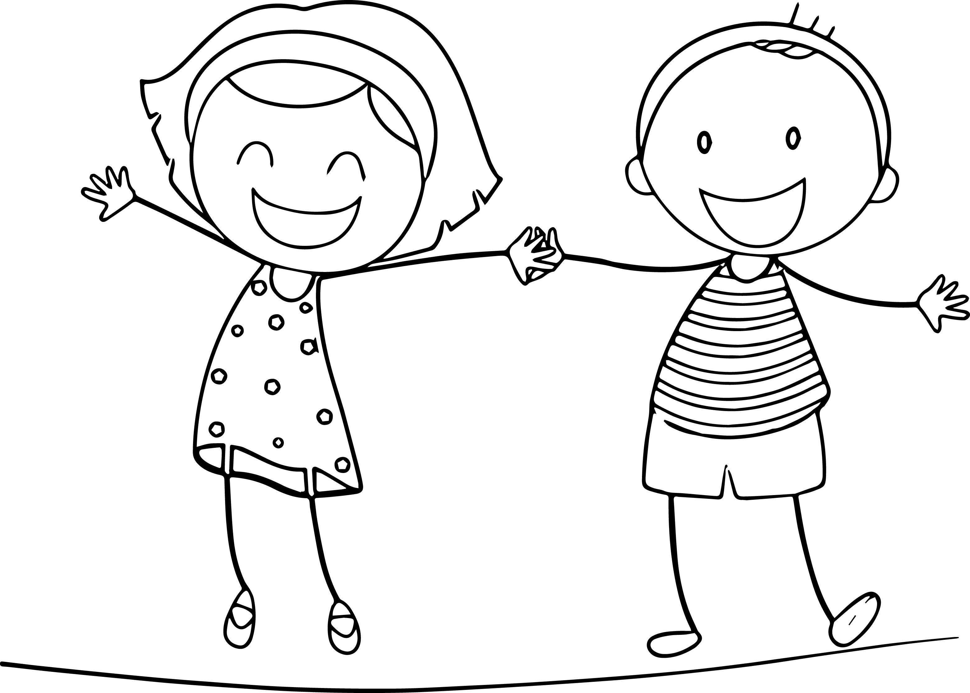 3120x2227 Free Coloring Pages Boy And Girl Preschool In Fancy Draw Image Fun