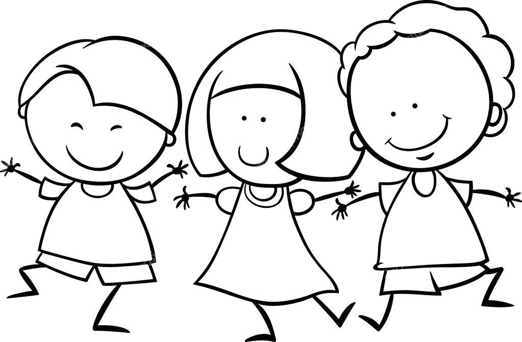 1023x671 Toddler Coloring Page Black And White Cartoon Illustration Of Cute