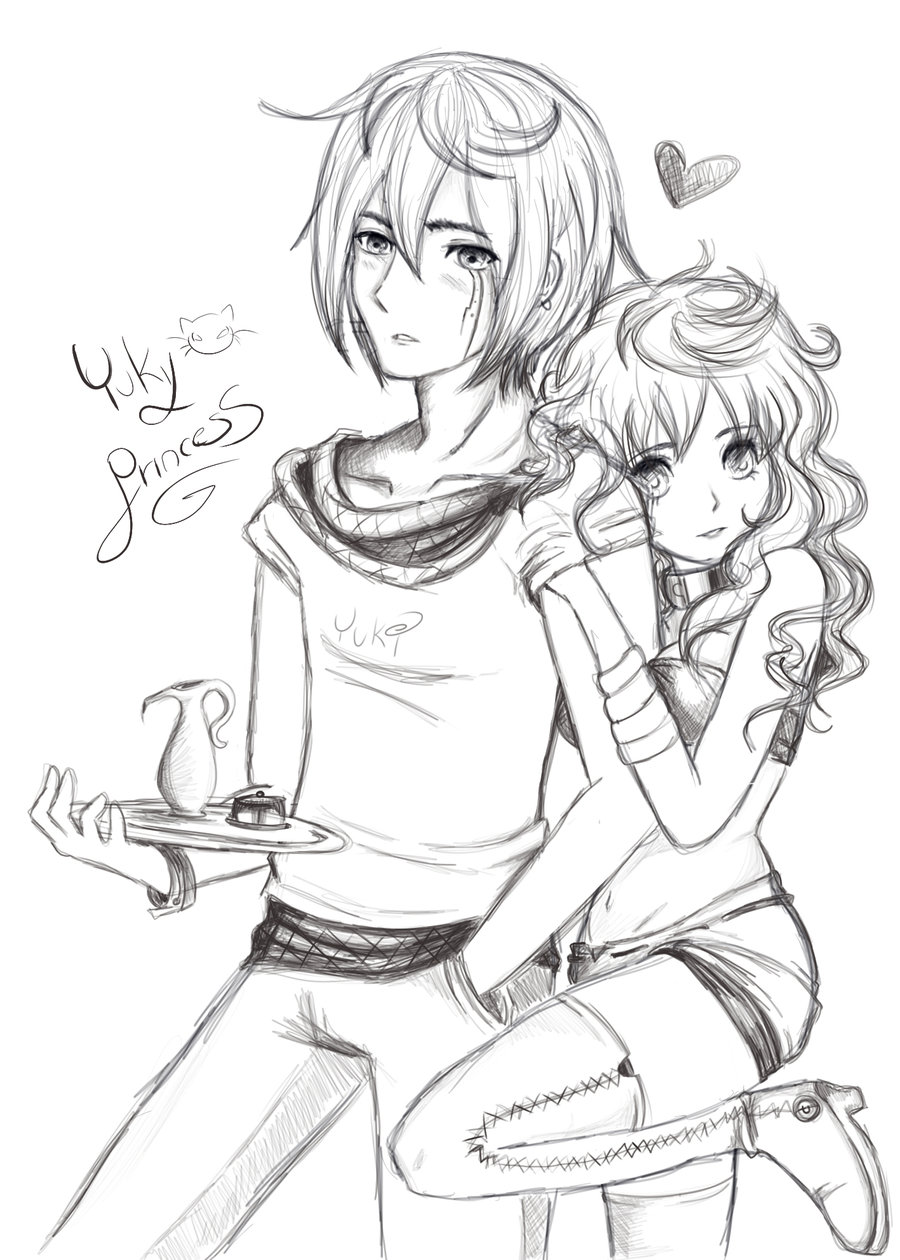 900x1260 Sketch boy and girl by YukiPrincess on DeviantArt