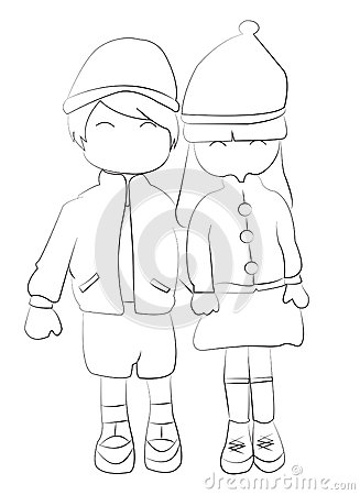 Boy And Girl Holding Hands Drawing