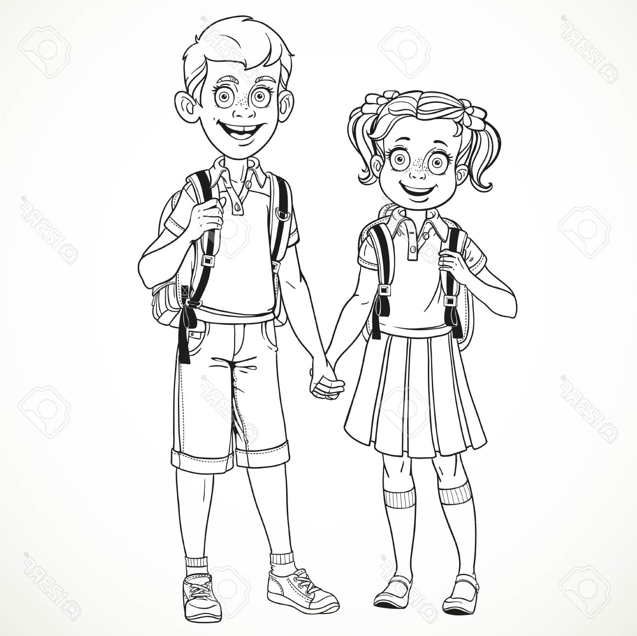 1300x1298 Boy And Girl Holding Hands Drawing Boy And Girl With A School Bag