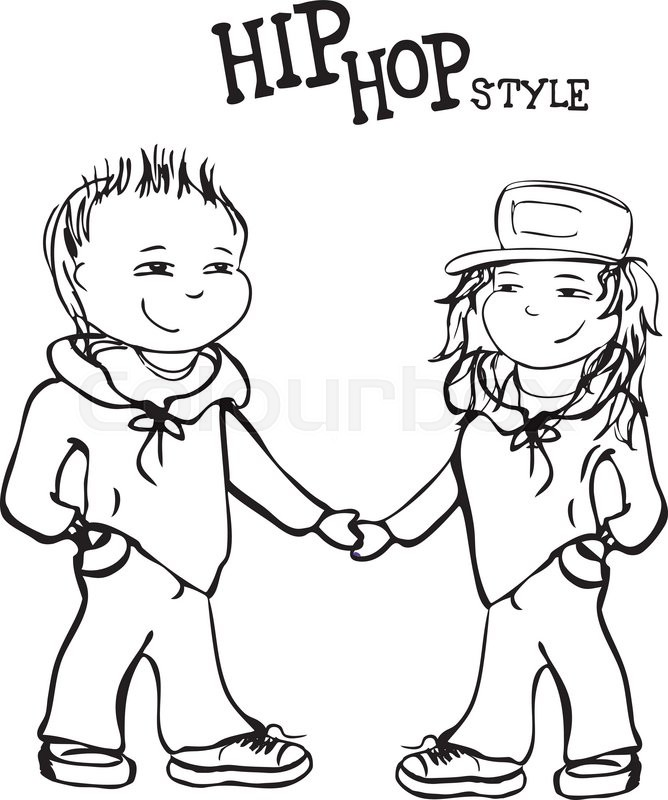 668x800 Hip hop boy and girl holding hands, vector illustration Stock