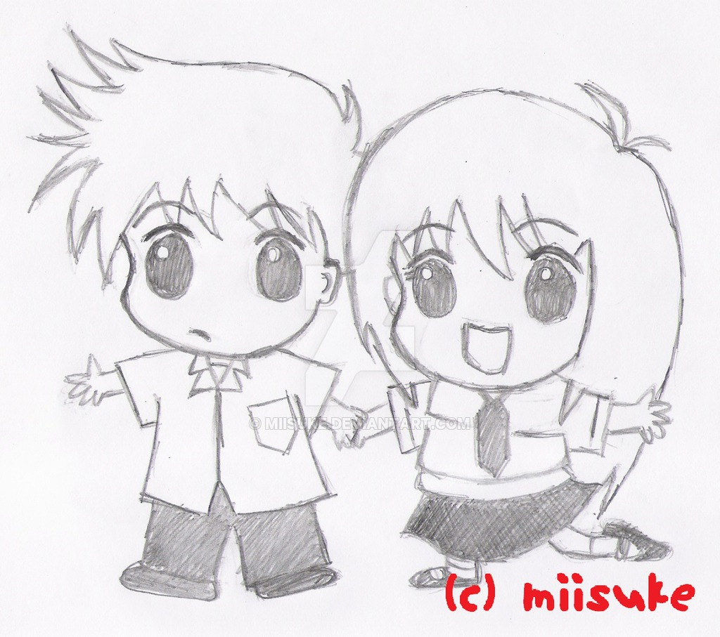 1024x907 How To Draw A Chibi Boy And Girl Holding Hands