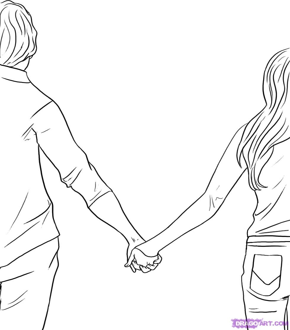 980x1114 Boy And Girl Hand In Hand Sketch Pencil Sketch Of Boy And Girl