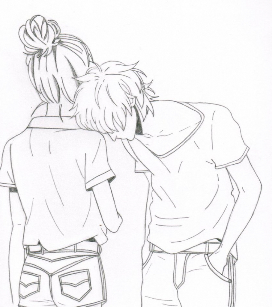 907x1024 Boy And Girl Holding Hands Anime Sketch