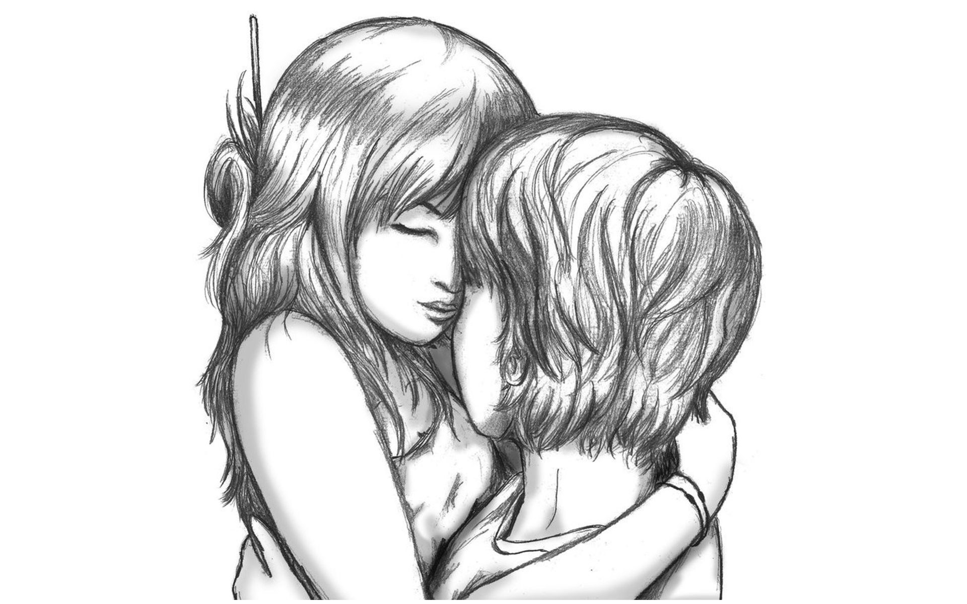 1920x1200 Romantic Hug Pencil Sketches Boy And Girl Romantic Sketch Images