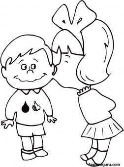 252x338 Printable Valentines Day Girl Kissing Boy Coloring Pages