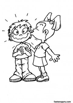 240x338 Printable Valentines Girl Kissing Boy Coloring Page