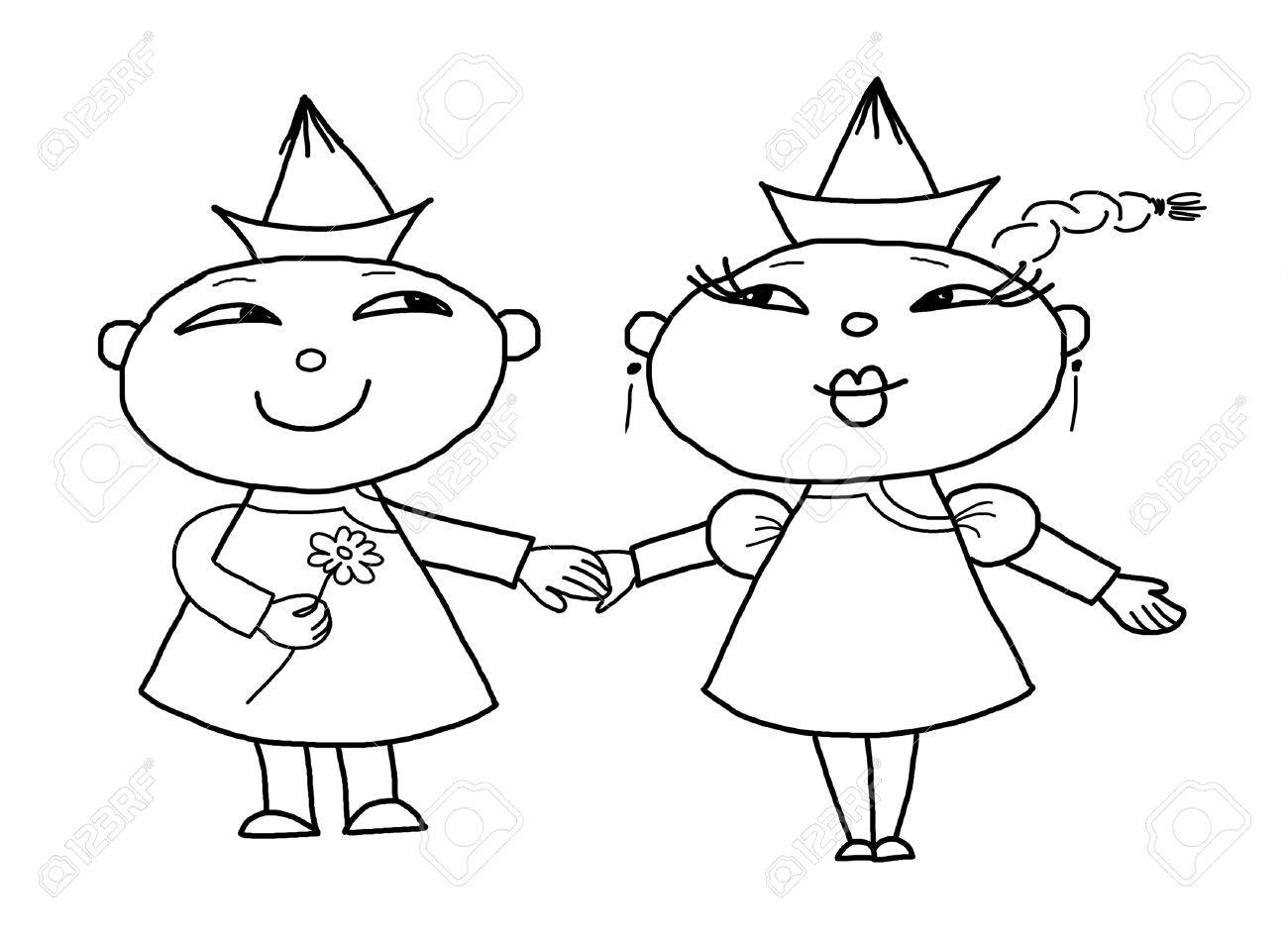 1300x949 Loving Mongolian Boy And Girl, My Daughter's Drawing Stock Photo