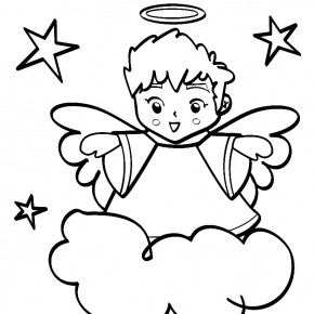 290x290 A Little Angel Boy Are Flying On Cloud Happily Welcoming Christmas