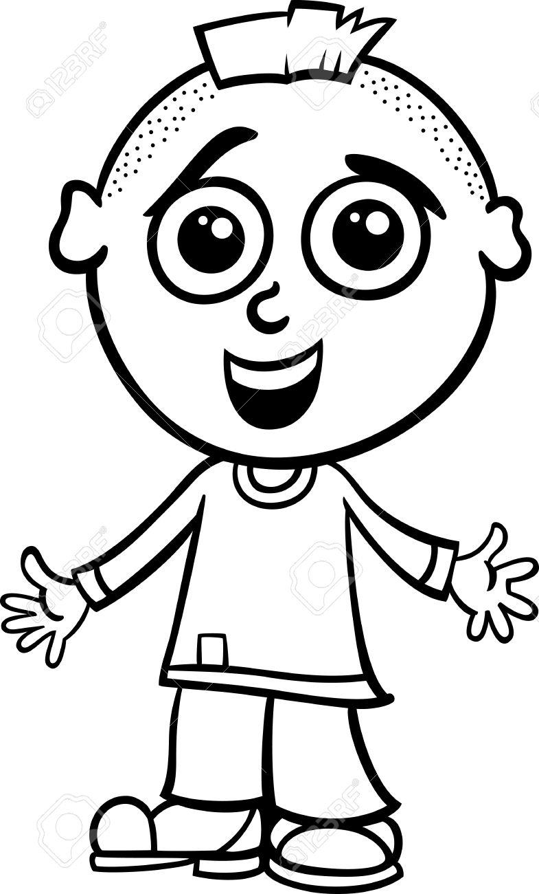 785x1300 Little Boy Cartoon Drawing Black And White Cartoon Illustration