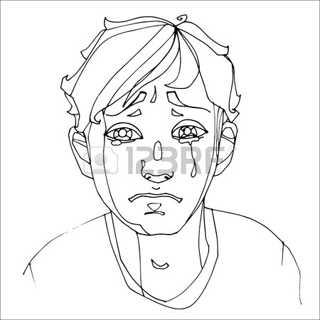 450x450 The Boy Crying Heavily, Human Emotions. Sketch Hand Drawing