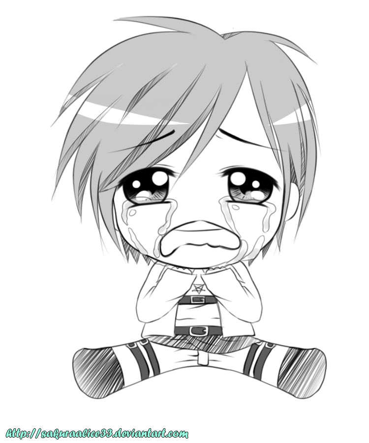 750x900 Chibi Crying Eren (Sketch) By Sakuraalice33