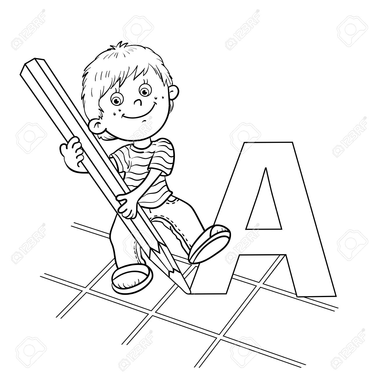 1300x1300 Coloring Page Outline Of A Cartoon Boy Drawing A Large Letter