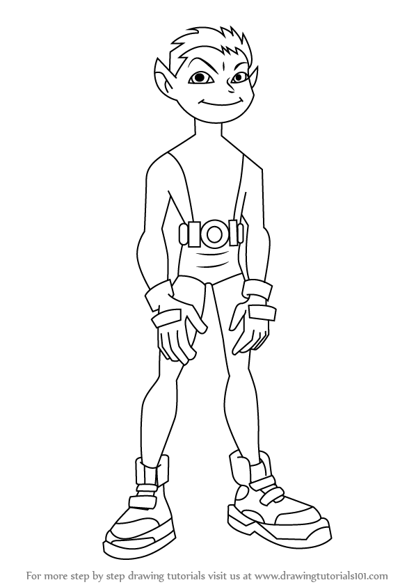 598x844 Learn How To Draw Beast Boy From Teen Titans (Teen Titans) Step By