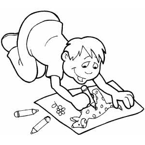 300x300 Boy Drawing With Crayons Coloring Page