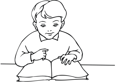 480x339 School Boy Reading A Book Coloring Page Free Printable Coloring