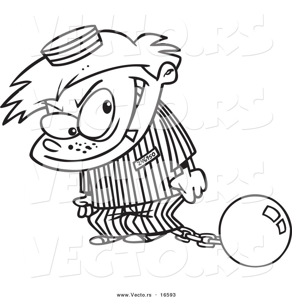 1024x1044 Vector Of A Cartoon Bad Boy In Prison Uniform