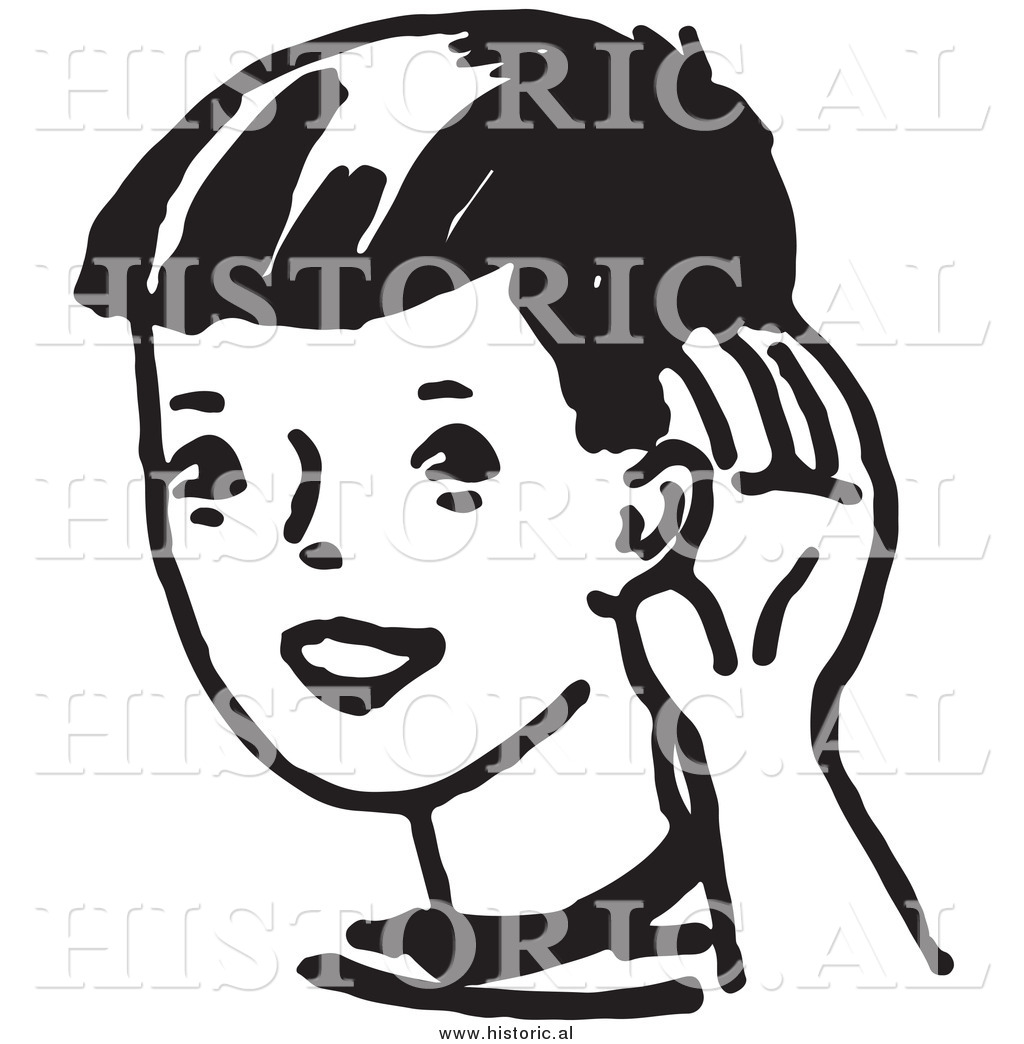 1024x1044 Clipart Of A Boy Cupping His Ear While Trying To Hear Something
