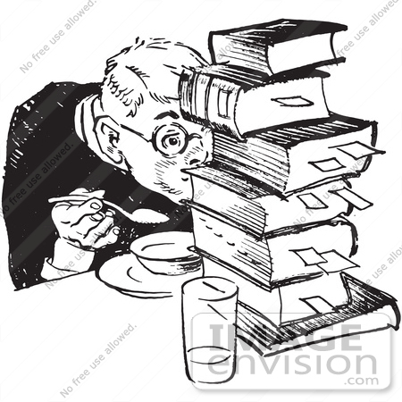 450x450 Retro Clipart Of A Vintage Teenage Boy Hiding Behind Books While
