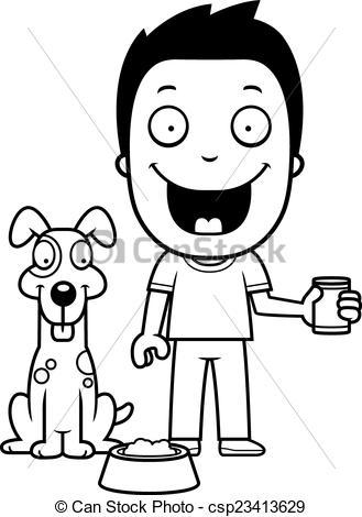 329x470 Cartoon Boy Feeding Dog. A Happy Cartoon Boy Feeding The Vector