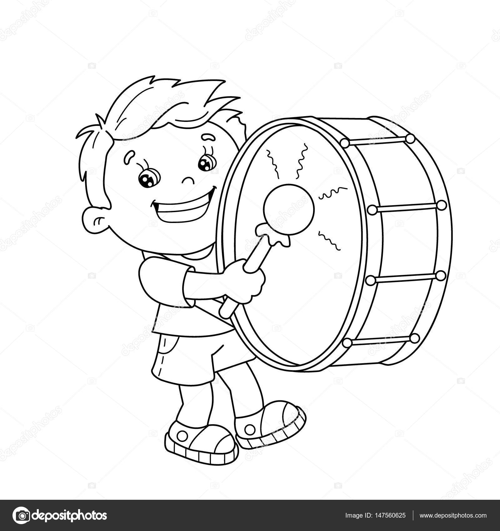 1600x1700 Coloring Page Outline Of Cartoon Boy Playing The Drum. Musical