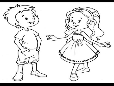 480x360 How To Draw Kids Girl And Boy Learning Coloring Pages