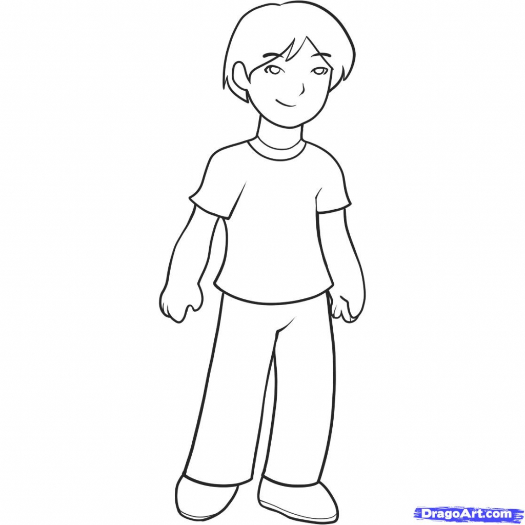 1024x1024 Cartoon Drawing Of A Boy How To Draw A Boy For Kids Step Step