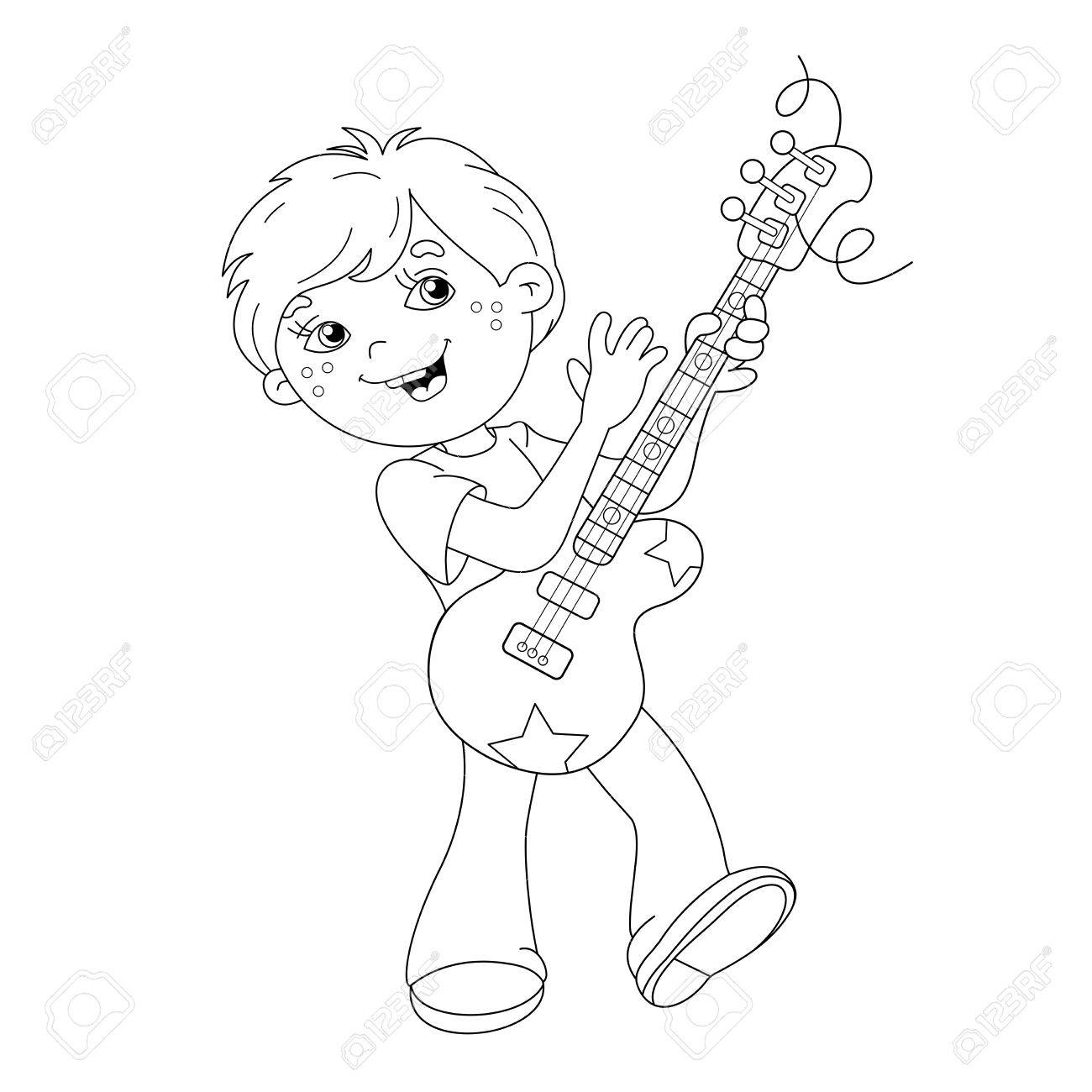 1300x1300 Coloring Page Outline Of Cartoon Boy Playing Guitar. Coloring