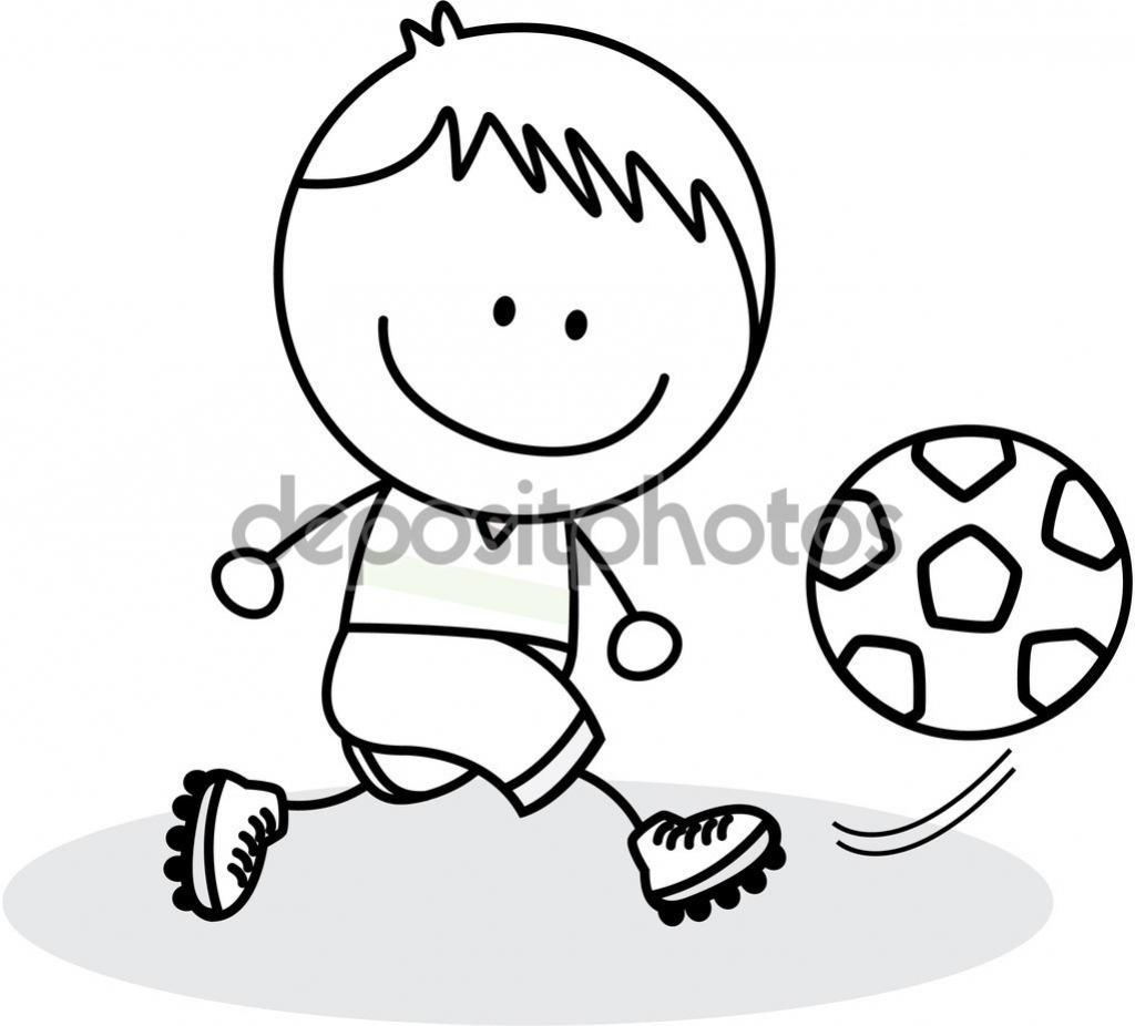 1024x926 Drawing Of A Boy Is Playing Football Drawing Image Playing