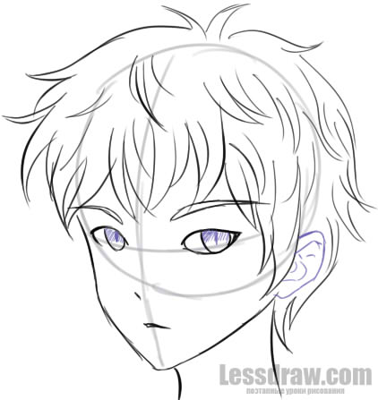 422x447 How To Draw Anime Boy Step By Step For Beginners Lessdraw