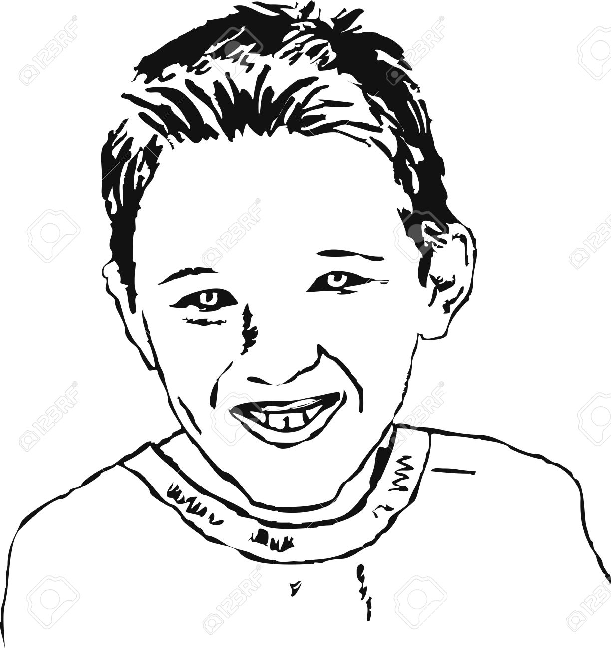 1224x1300 Rough Sketchy Drawing Style Illustration Of A Young Boy
