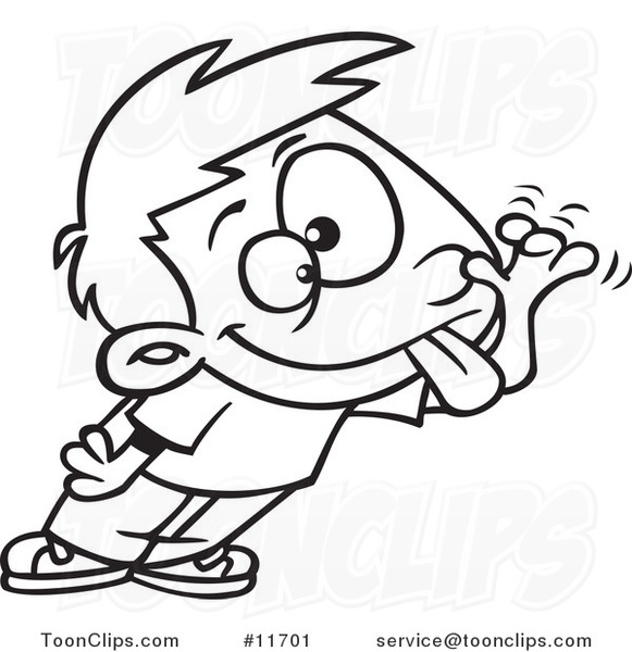 581x600 Cartoon Outlined Boy Sticking His Tongue Out And Making A Funny