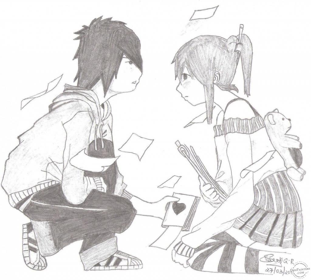 Boy Girl Drawing