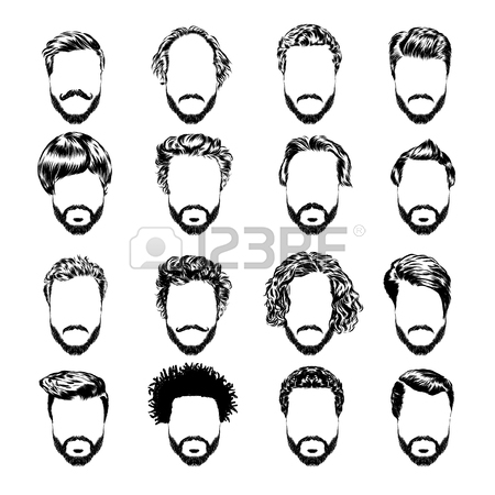 450x450 Set Of Men S Hairstyles, Beards And Mustache. Hand Drawn Sketch