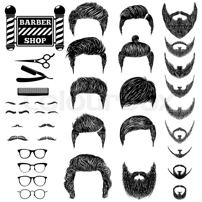800x800 A Set Of Hand Drawn Of Mens Hairstyles, Beards And Mustaches
