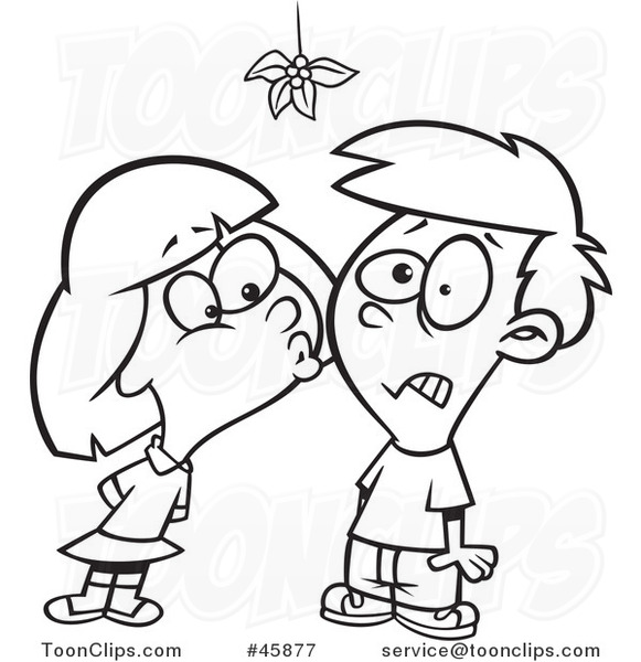581x600 Cartoon Black And White Girl Kissing A Boy Under Mistletoe