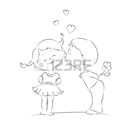 450x450 Hand Drawn Illustration Of Kissing Boy And Girl Royalty Free