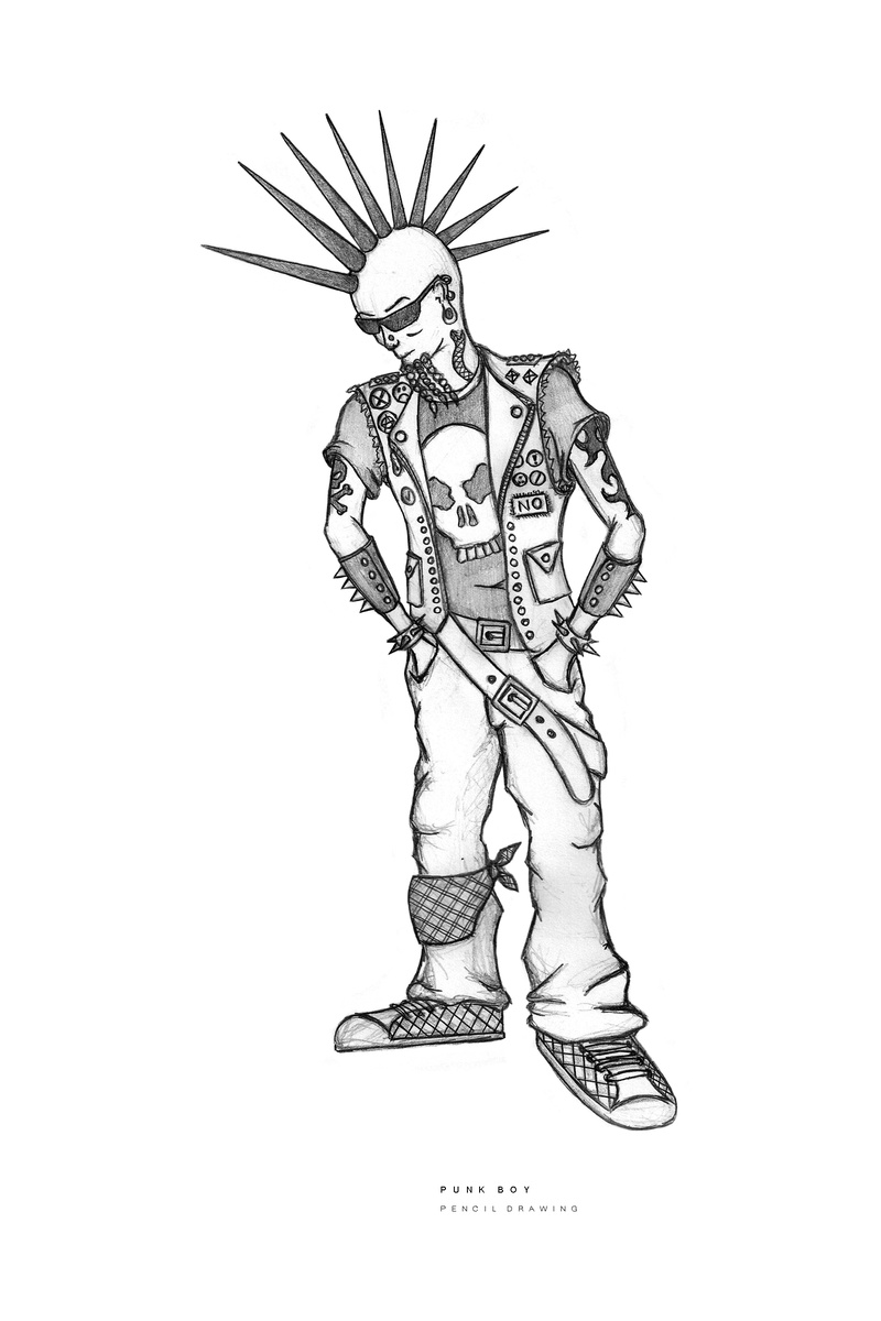 800x1200 25 Punk Boy Pencil Drawing