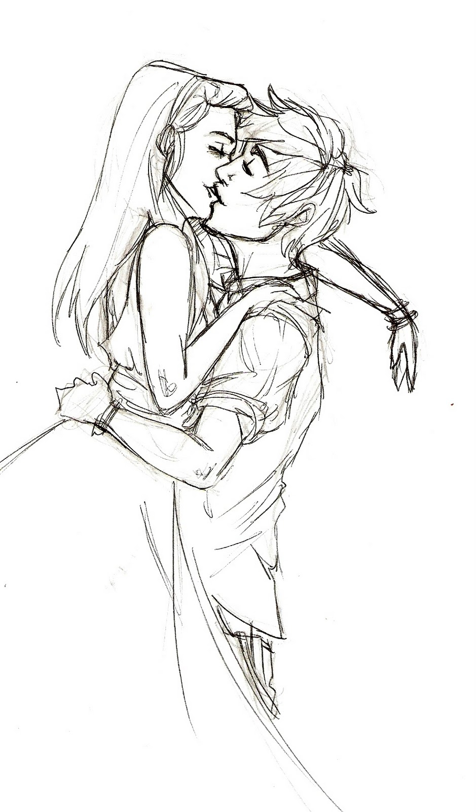 939x1600 Drawn Kissing Sketch
