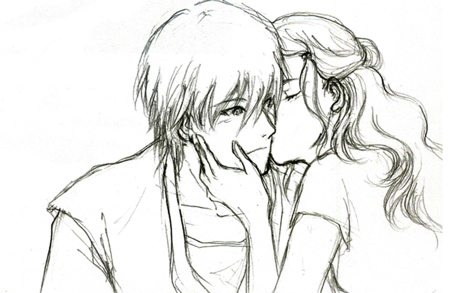 1920x1200 Gallery Boy Girl Friendship Pencil Sketch,