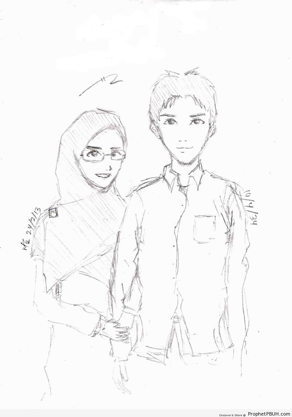 1024x1460 Muslim Couple (Pencil Drawing) Drawings Prophet Pbuh (Peace Be