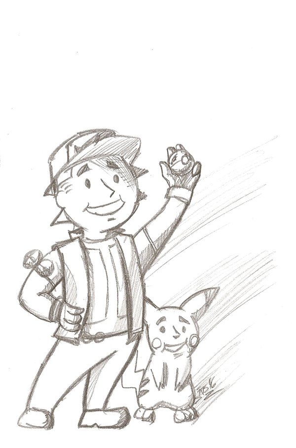 600x906 Pencil Sketch 3 Fallout Boy, Got To Catch Em All! By Doubledande