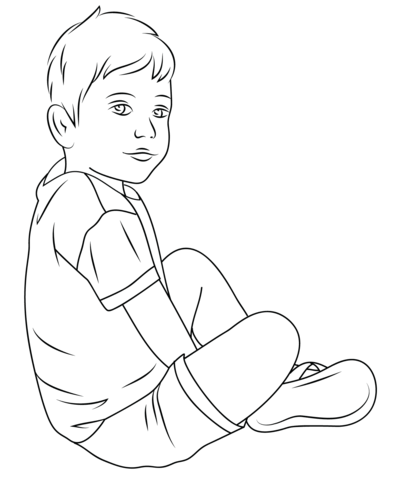 how to draw a child sitting down