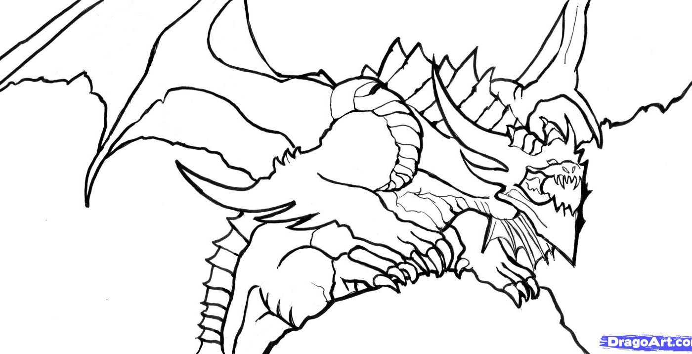 1400x716 Dragon Coloring Pages For Boys Drawing Adults Animals Realistic