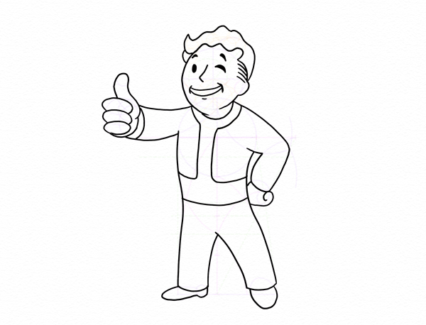 600x458 How to Draw Vault Boy From the Fallout Series Step by Step