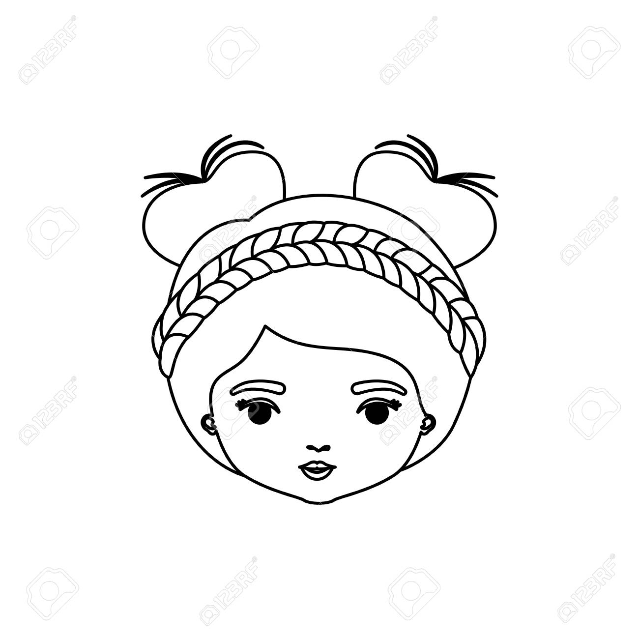 1300x1300 Monochrome Silhouette Of Caricature Front View Face Woman