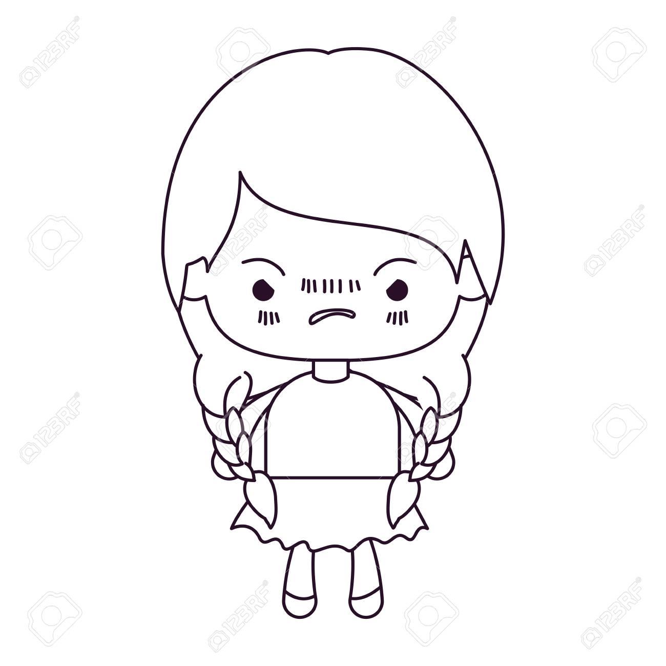 1300x1300 Monochrome Silhouette Of Kawaii Little Girl With Braided Hair