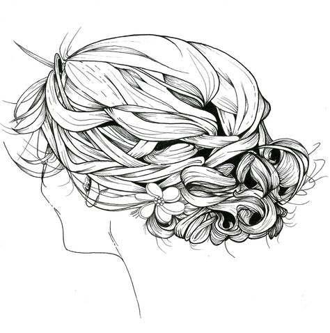 474x478 Braided Hair Print Of An Original Illustration, Ink, Black